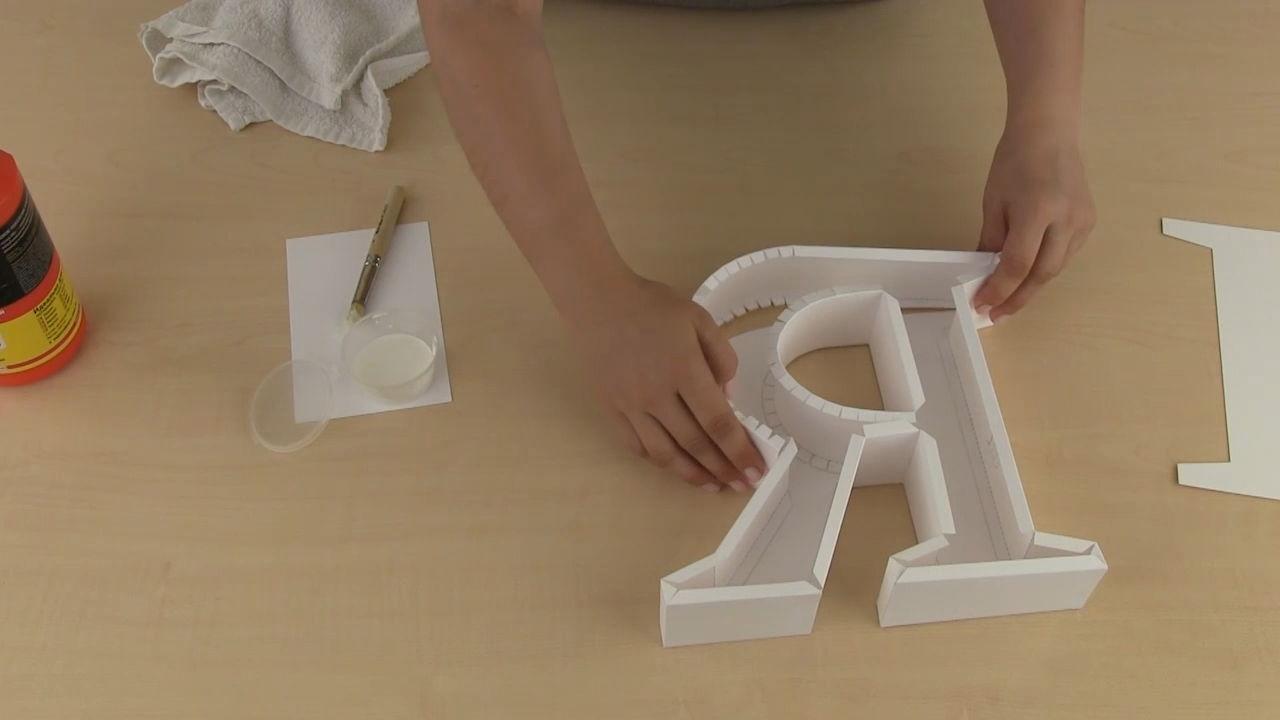 Как сделать из бумаги объемную букву к из картона